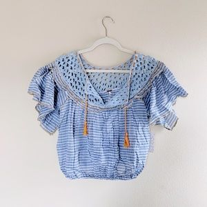 Free People Crop Peasant Crochet Allora Blouse M